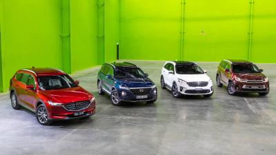 Seven-seat family SUV comparison test: Mazda CX-8 v Toyota Kluger v Hyundai Santa Fe v Kia Sorento