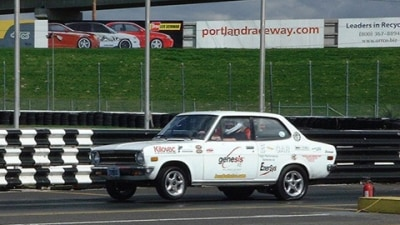 """""""White Zombie"""" 1972 Datsun 1200 – The World's Fastest Electric Street-Legal Car"""