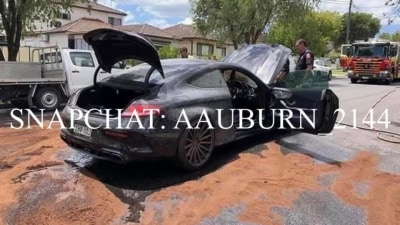 Mercedes-AMG burnout gone wrong: Sydney man charged after car catches fire
