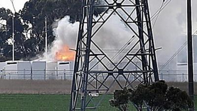 Victoria's 300-megawatt Tesla battery catches fire, authorities working to contain blaze