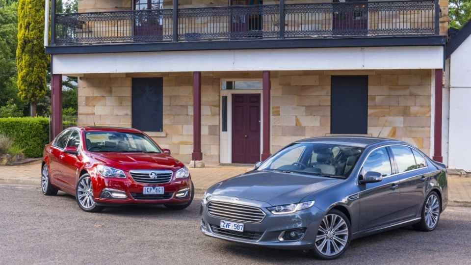 Last of their breed: the Holden Commodore Calais V V8 and the Ford Falcon G6E Turbo.
