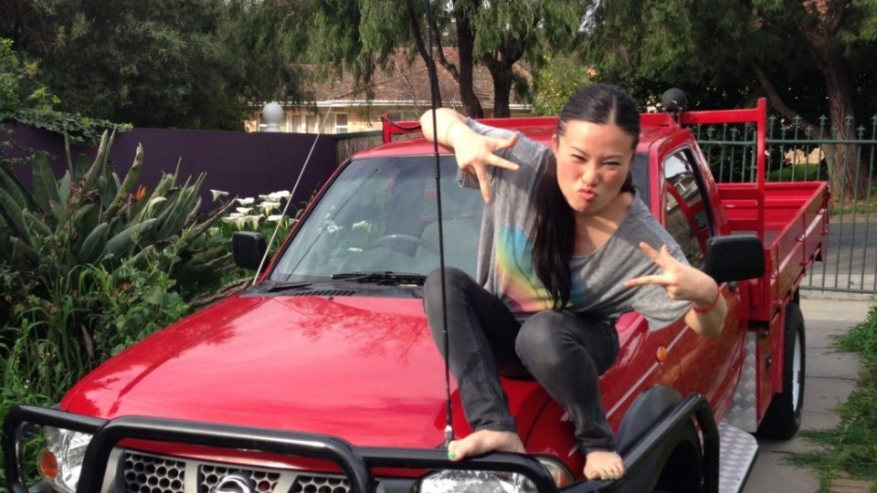 Dream car: TV chef Poh poses with her Nissan Navara ute.