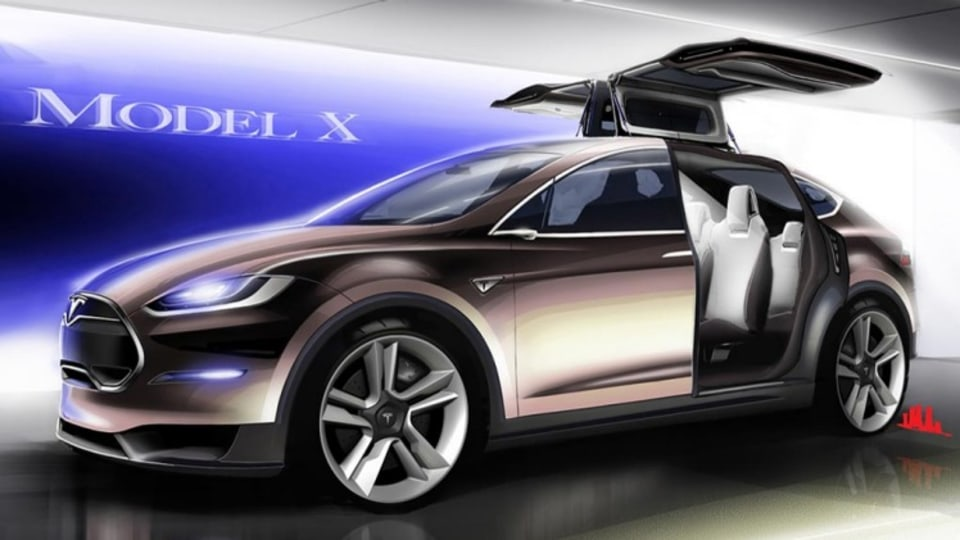 The Tesla Model X with Falcon Wing doors open.
