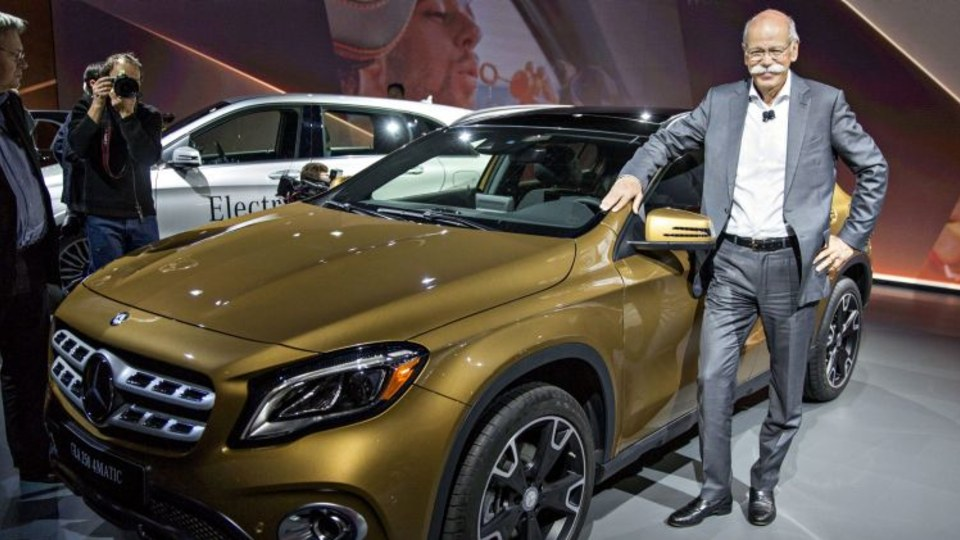 Mercedes chief Dieter Zetsche with the new GLA 250 compact SUV.