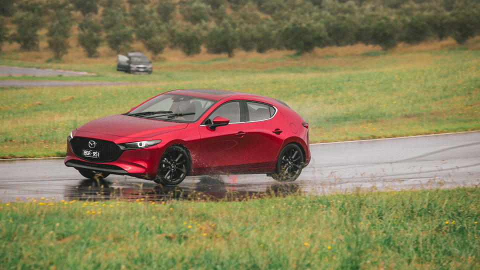 Drive Car of the Year Best Small Car of 2021 finalist Mazda 3 on road circuit