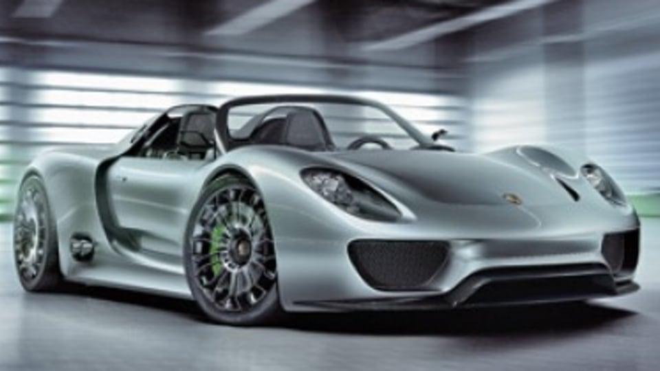 Porsche's hybrid-electric 918 Spyder sports car concept.