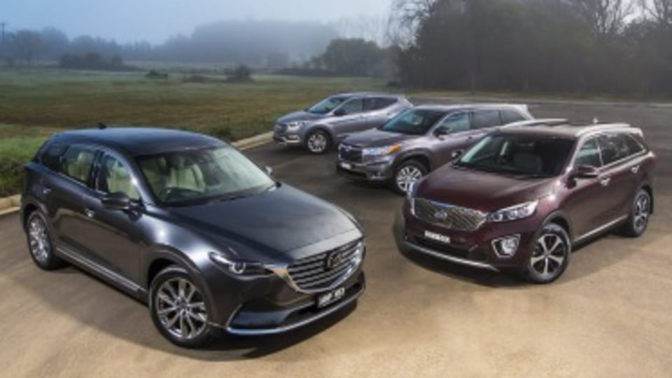 Seven-seat SUV comparison review: New Mazda CX-9 vs Toyota Kluger, Hyundai Santa Fe and Kia Sorento