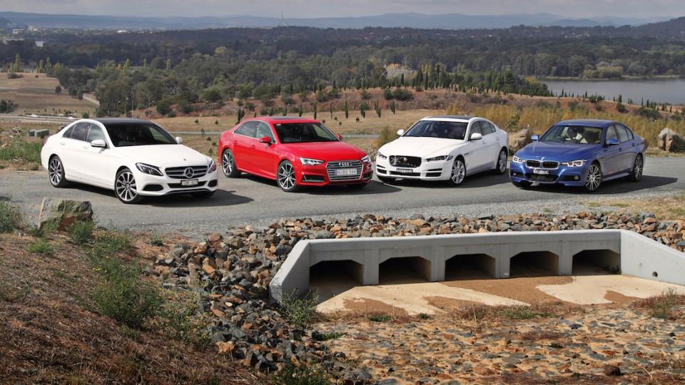 Audi A4 v BMW 3 Series v Jaguar XE v Benz C-Class Comparison REVIEW   Executive Sedan Showdown