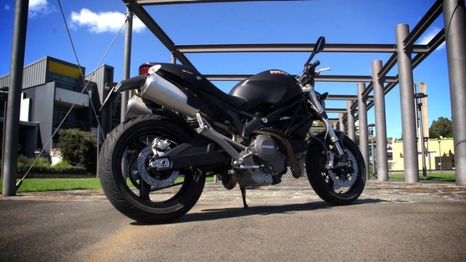 The Ducati Monster 659 offers similar street presence and riding ability to full-capacity machines, despite being learner legal.