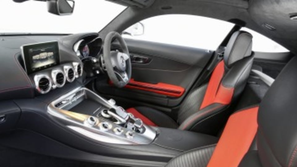 In the cabin, the Mercedes-AMG GT has low-set seats creating the perfect driving position.