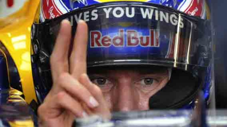 Mark Webber during practice today.