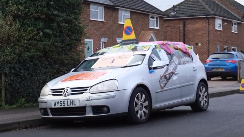 Abandoned VW Golf gets a birthday party