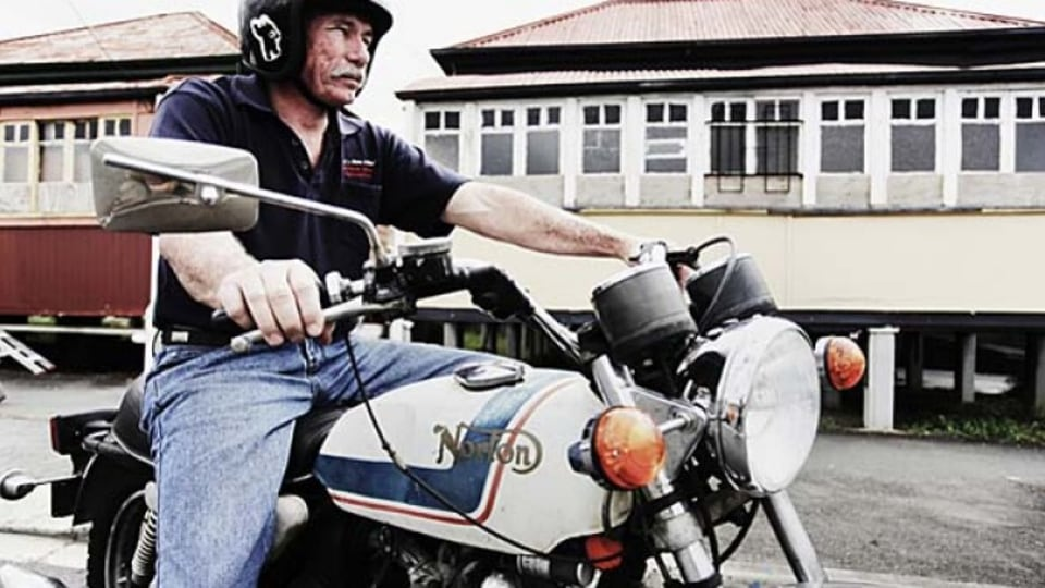 Chris Ray on his beloved 1974 Norton 850 Commando heading to his workshop in Woolloongabba.