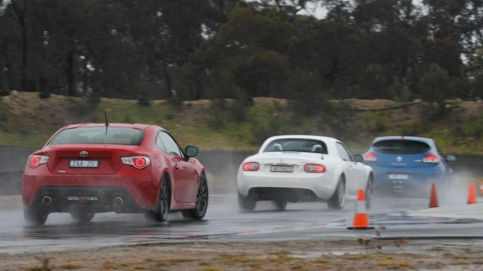 The Renault Megane RS250 Cup, Toyota 86 GT and the Mazda MX-5 are put through their paces at the Marulan Driver Training Centre. Photos: Mark Bean