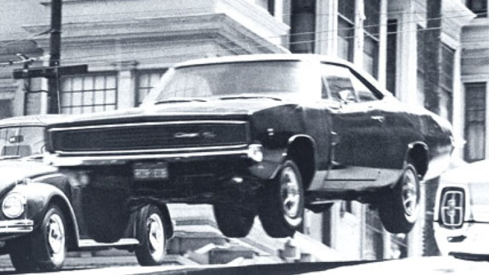 """1968 Charger takes to the air in the Steve McQueen movie """"Bullit"""""""