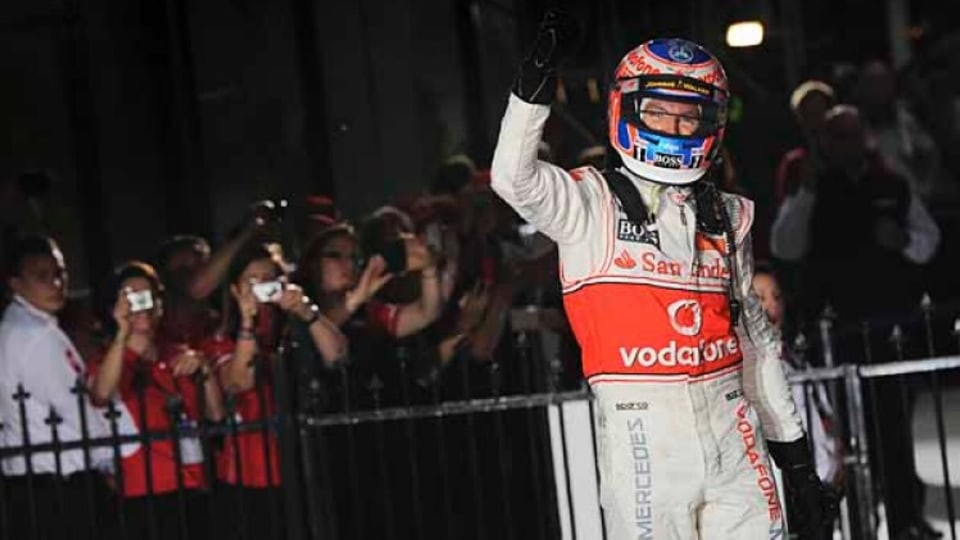 Jenson Button [McLaren ] after defeating Robert Kubica and Felipe Massa.