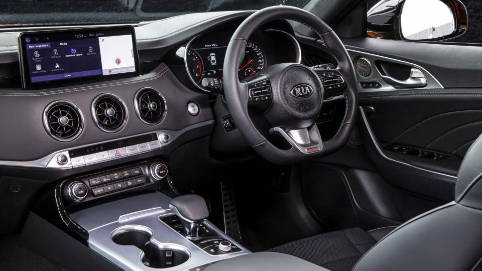 Drive Best Medium To Large Car 2021 finalist Kia Stinger GT interior driver seat steering wheel