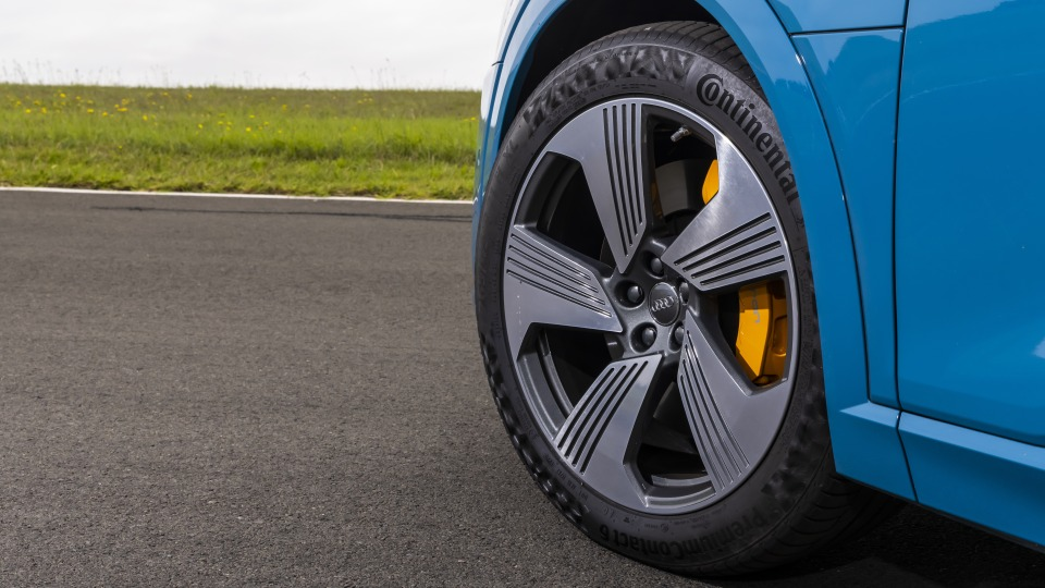 Drive Car of the Year Best Electric Vehicle 2021 finalist Audi e-Tron front left wheel close-up.