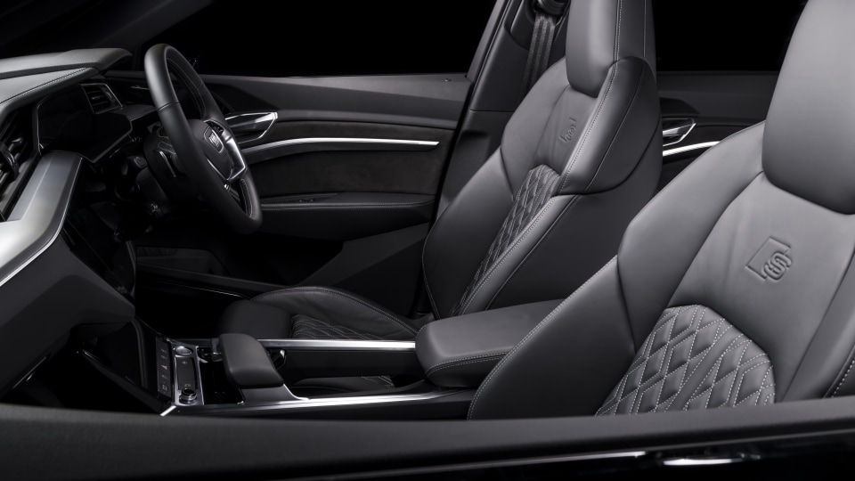 Drive Car of the Year Best Electric Vehicle 2021 finalist Audi e-Tron front interior seating viewed from front left window