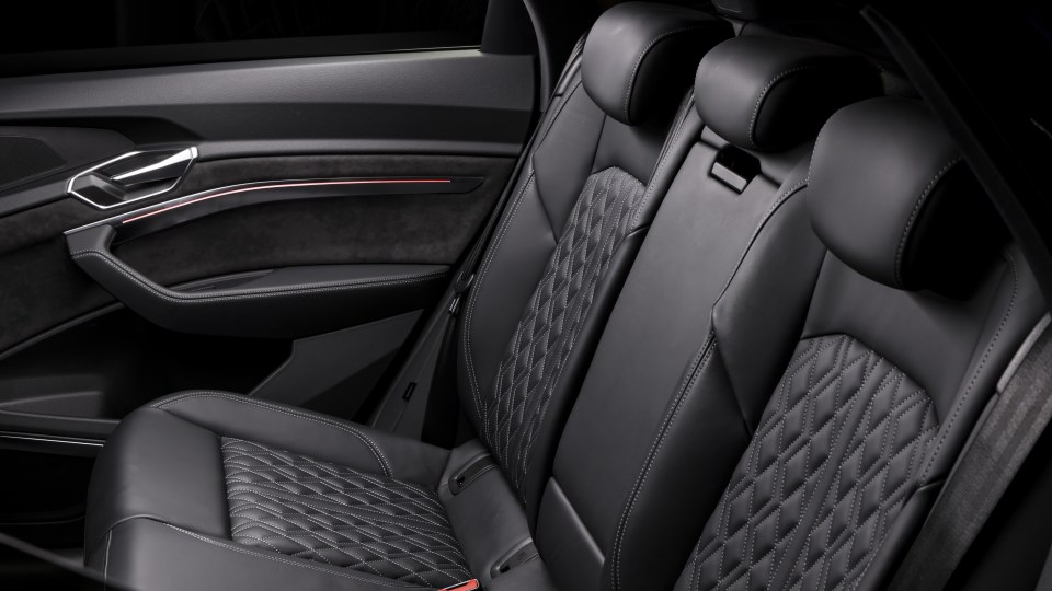 Drive Car of the Year Best Electric Vehicle 2021 finalist Audi e-Tron rear interior seating viewed from rear left window