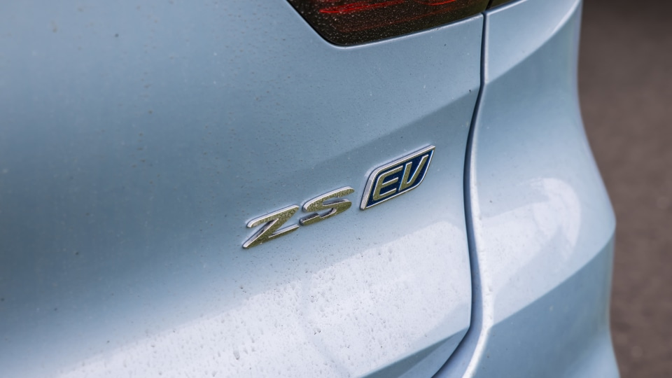 Drive Car of the Year Best Electric Vehicle 2021 finalist MG ZS EV label close-up