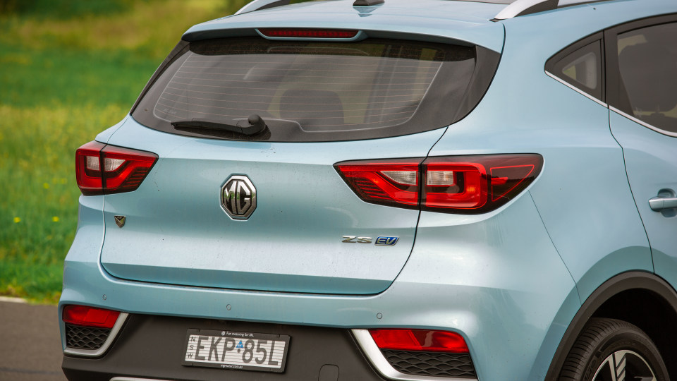 Drive Car of the Year Best Electric Vehicle 2021 finalist MG ZS EV rear exterior view close-up
