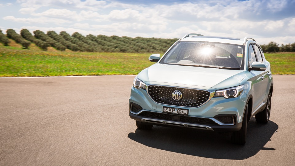 Wide shot of the Drive Car of the Year Best Electric Vehicle 2021 finalist MG ZS EV driven on road