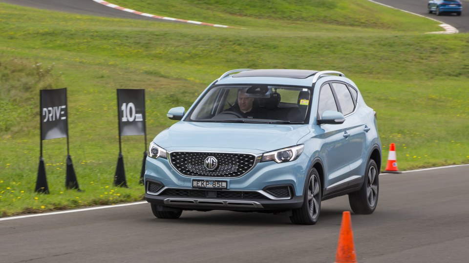 Drive Car of the Year Best Electric Vehicle 2021 finalist MG ZS EV driven on road circuit