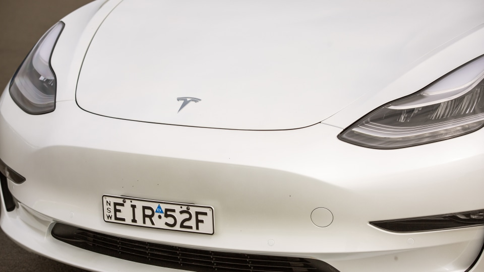 Drive Car of the Year Best Electric Vehicle 2021 finalist Tesla Model 3 front exterior close-up