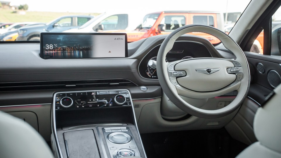 Drive Car of the Year Best Large Luxury SUV 2021 finalist Genesis GV80 infotainment system and steering wheel
