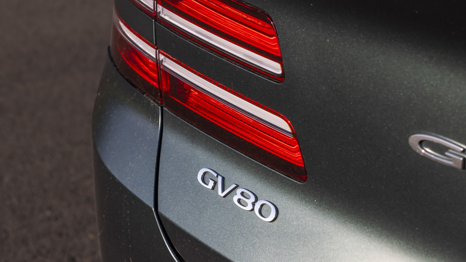 Drive Car of the Year Best Large Luxury SUV 2021 finalist Genesis GV80 rear label close-up