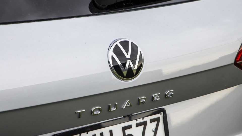 Drive Car of the Year Best Large Luxury SUV 2021 finalist Volkswagen Touareg rear badge close-up
