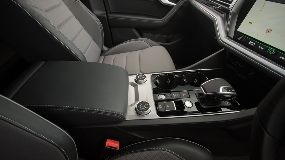 Drive Car of the Year Best Large Luxury SUV 2021 finalist Volkswagen Touareg gear shift viewed from driver side window.