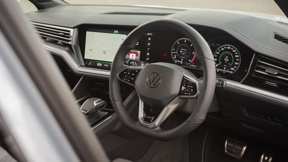 Drive Car of the Year Best Large Luxury SUV 2021 finalist Volkswagen Touareg steering wheel.