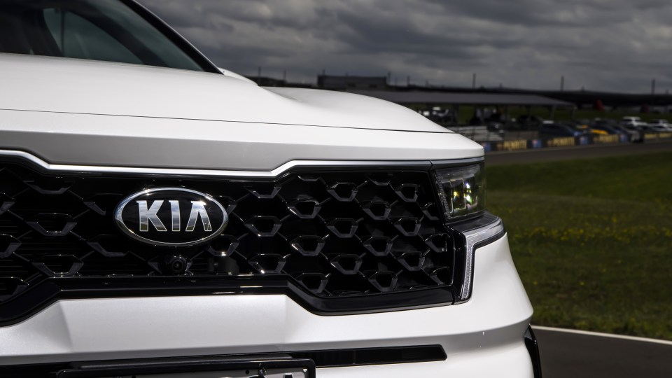 Drive Car of the Year Best Large SUV 2021 finalist Kia Sorento grille and badge close-up.