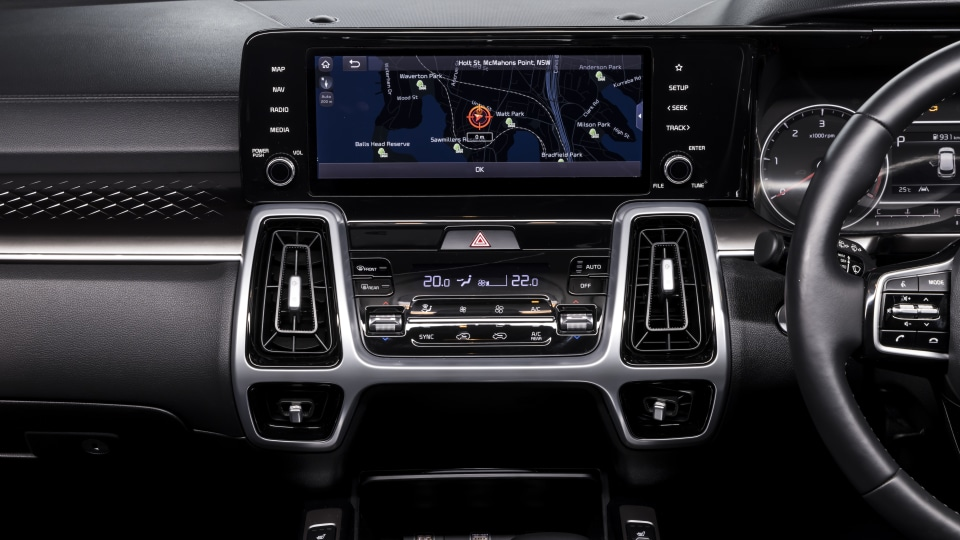 Drive 2021 Best Large SUV finalist Kia Sorento infotainment system.