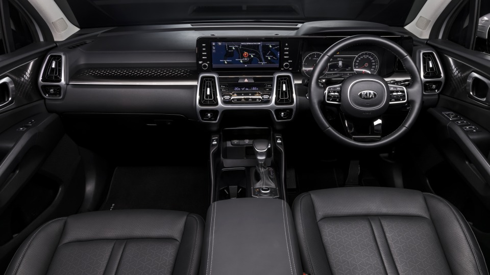 Drive Car of the Year Best Large SUV 2021 finalist Kia Sorento front interior full view.