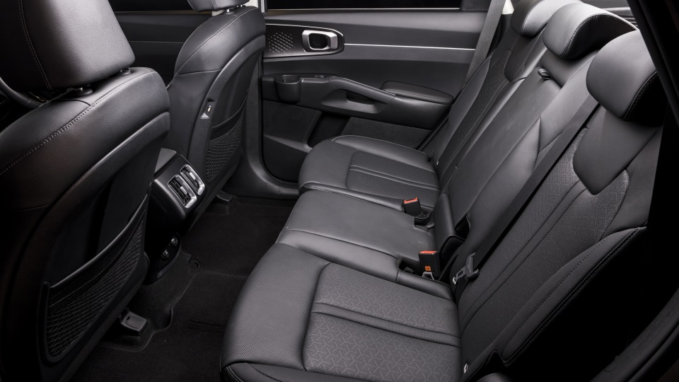 Drive Car of the Year Best Large SUV 2021 finalist Kia Sorento rear seating as viewed from window.