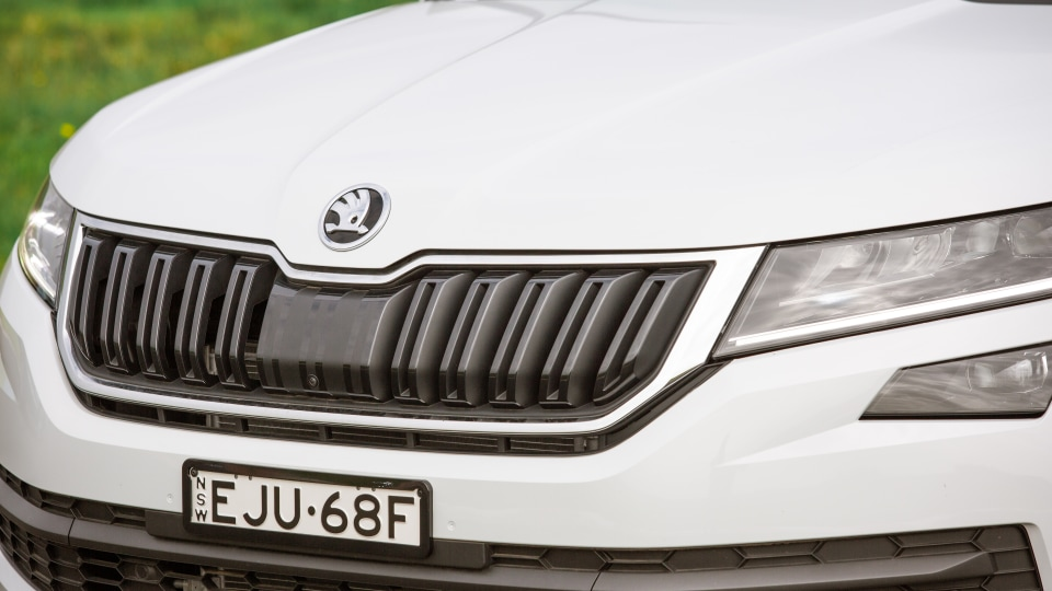 Drive Car of the Year Best Large SUV 2021 finalist Skoda Kodiaq grille and bonnet close-up