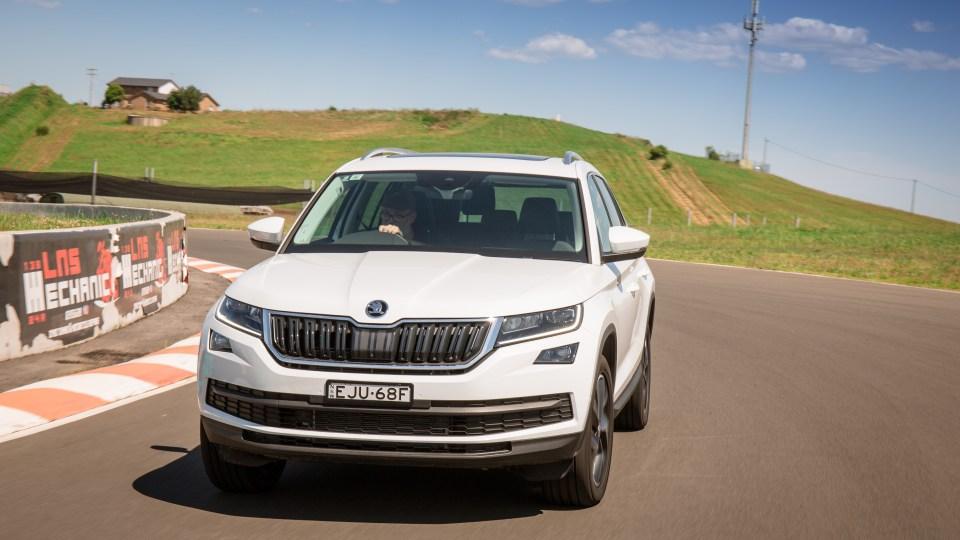 Drive Car of the Year Best Large SUV 2021 finalist Skoda Kodiaq driven around road bend
