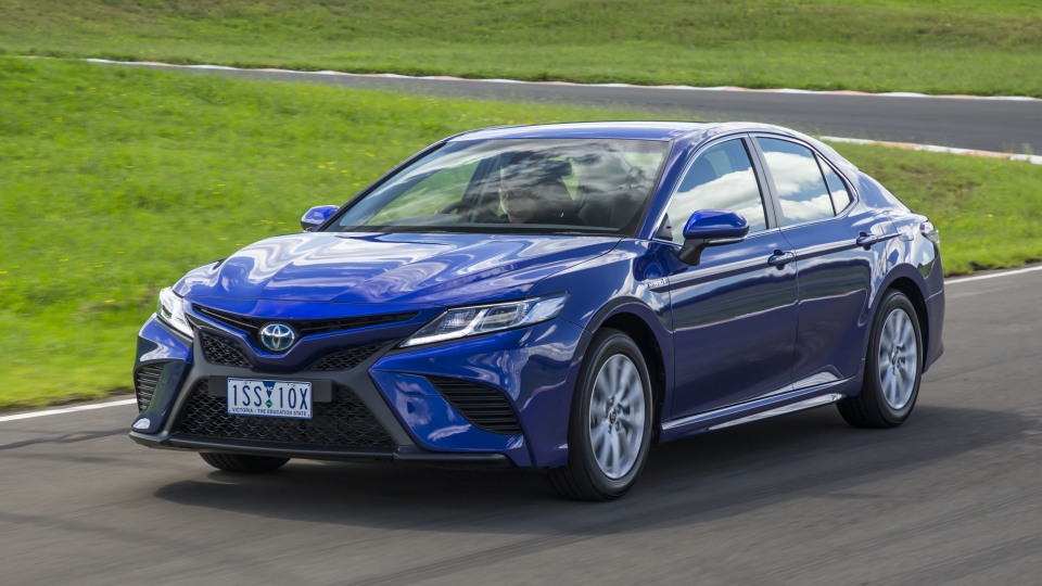Drive Car of the Year Best Medium To Large Car 2021 finalist Toyota Camry Hybrid front exterior view