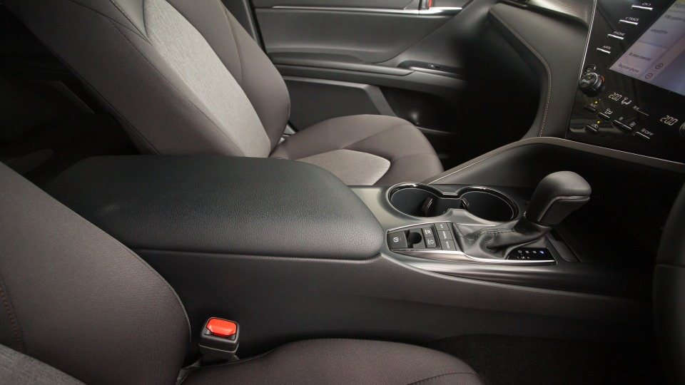 Drive Car of the Year Best Medium To Large Car 2021 finalist Toyota Camry Hybrid interior front seating view