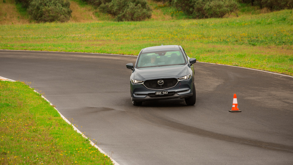 Drive Car of the Year Best Medium SUV 2021 finalist Mazda CX-5 driven on road circuit