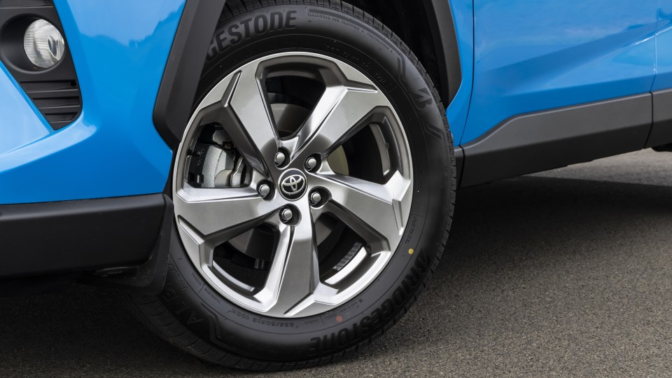 Drive Car of the Year Best Medium SUV 2021 finalist Toyota Rav 4 left wheel close-up