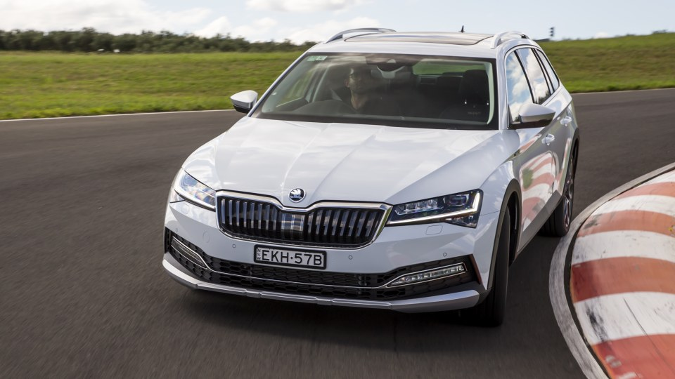 Drive Car of the Year Best Medium To Large Car 2021 finalist Skoda Super driven around a bend