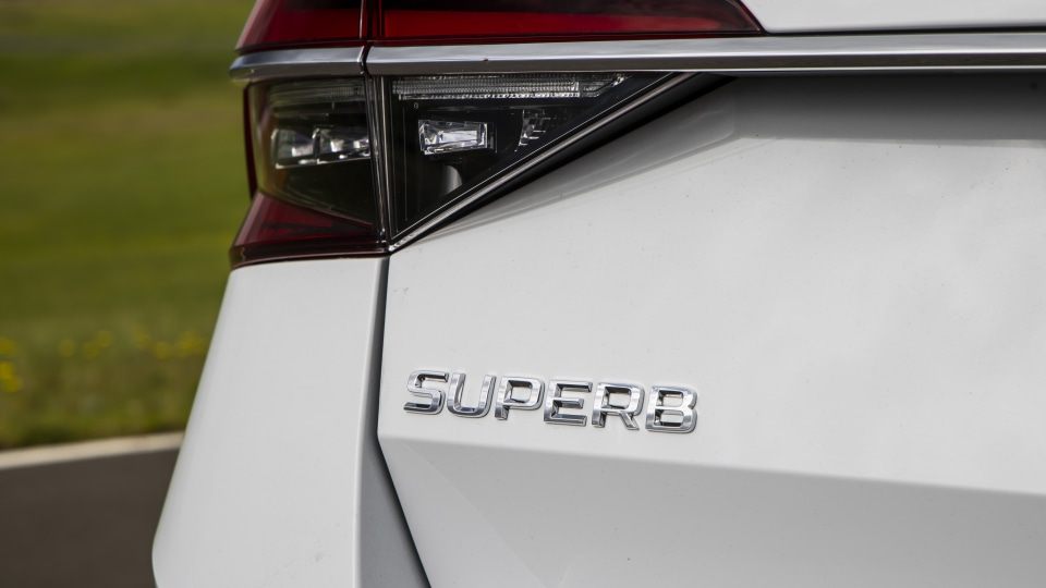 Drive Car of the Year Best Medium To Large Car 2021 finalist Skoda Super exterior rear label