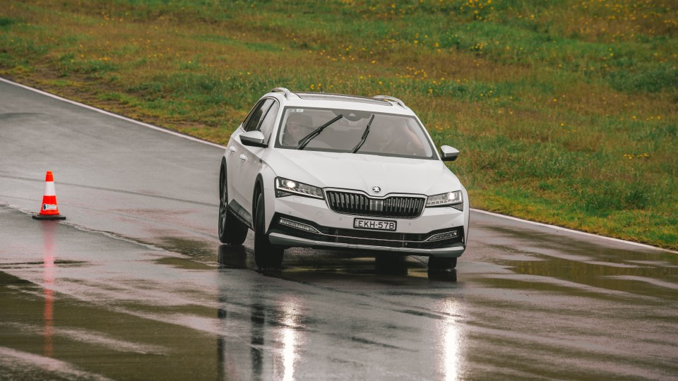 Drive Car of the Year Best Medium To Large Car 2021 finalist Skoda Super on road circuit