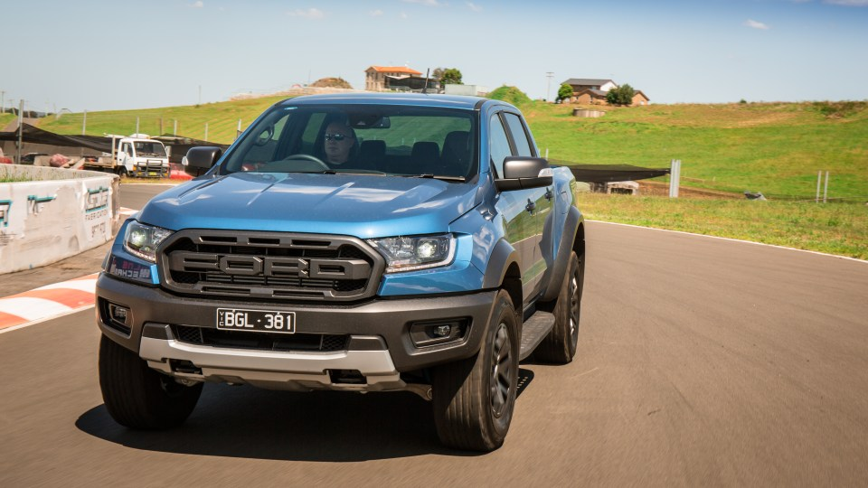 Drive Car of the Year Best Off-Road SUV 2021 finalist Ford Ranger Raptor driven around a bend
