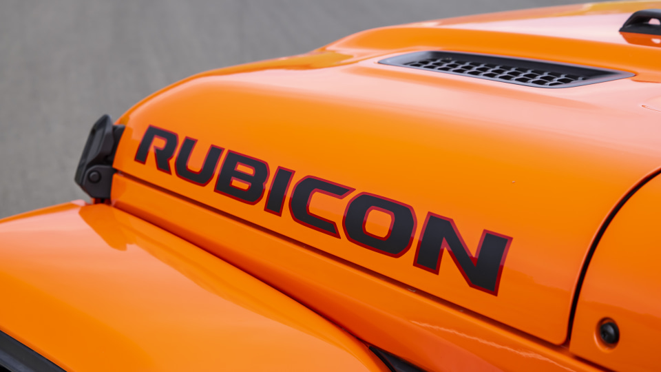 Drive Car of the Year Best Off-Road SUV 2021 finalist Jeep Gladiator Rubicon bonnet label close-up