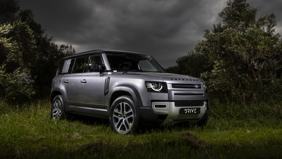 Drive Car of the Year Best Off-Road SUV 2021 finalist Land Rover Defender front exterior view.